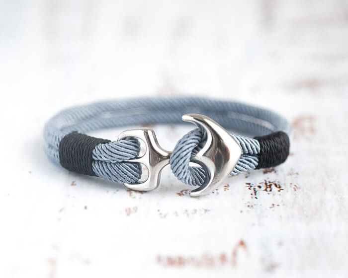 Anchor bracelet with gray cord and silver anchor