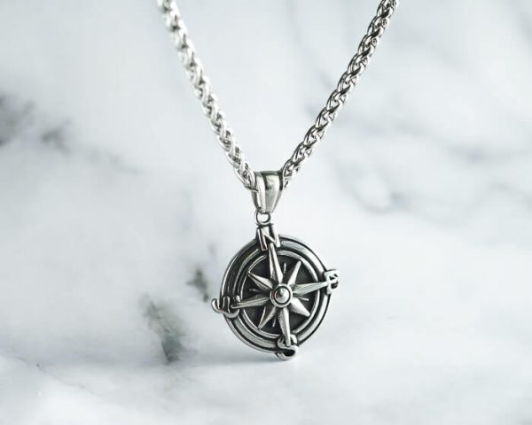 Compass Necklace in Silver