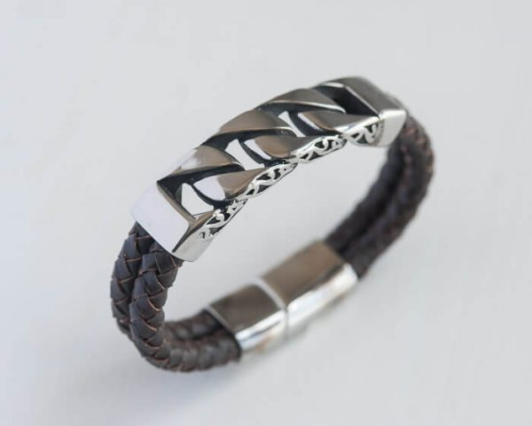Leather Bracelet with silver Chain Link