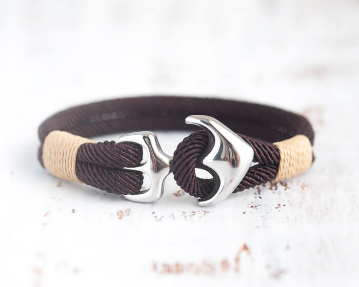 Anchor bracelet with silver anchor and brown cord