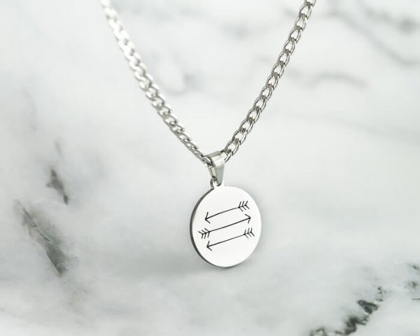arrow pendant, Round silver pendant Necklace