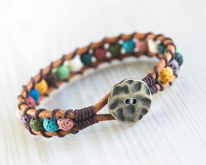 Lava stone bracelet, beaded bracelet, gemstone jewelry,