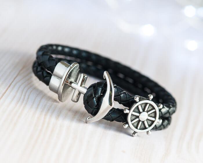 leather black rudder anchor bracelet