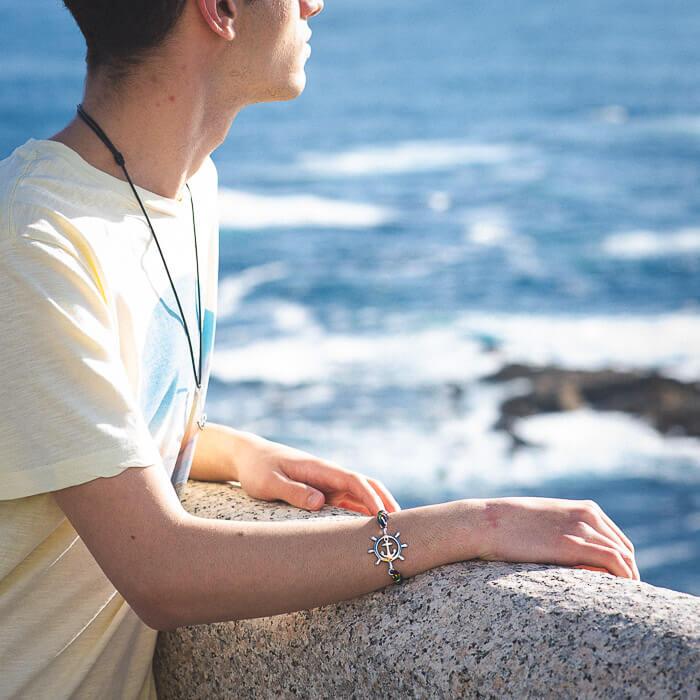 Nautical bracelet, rudder bracelet for men and women