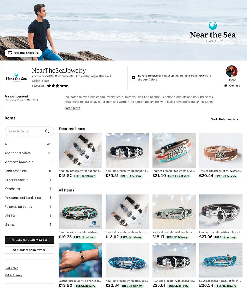Online store, nautical bracelets, vegan jewelry
